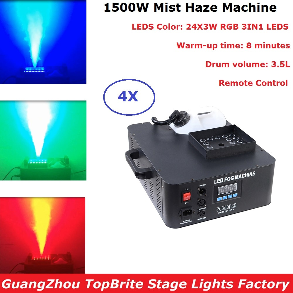 ¡Novedad! máquina de niebla LED DMX de 4 Uds. De 1500 W, máquina de humo Vertical Piro 24X3W RGB 3 en 1, máquina de neblina profesional para luces de fiesta