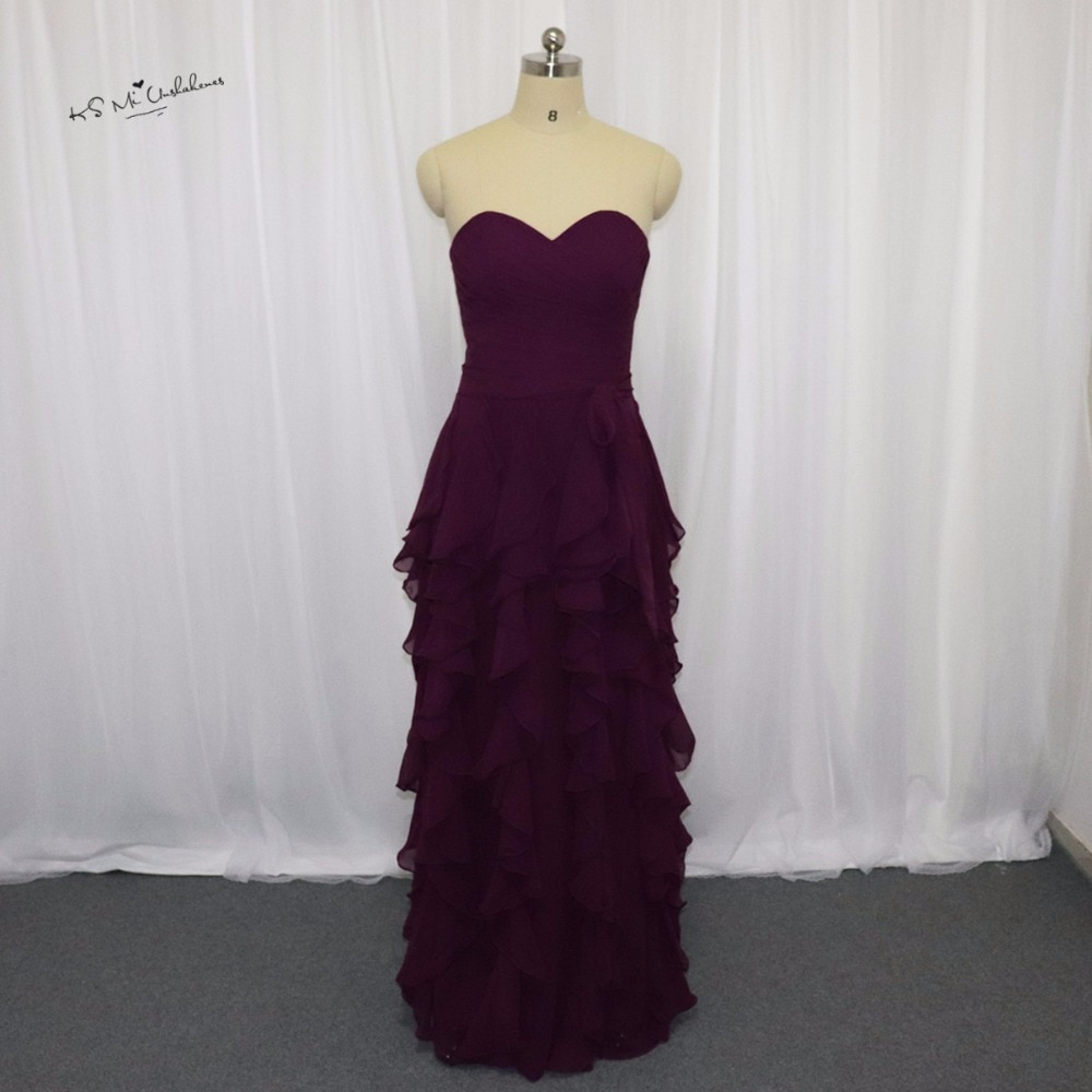 Vestido Madrinha de Casamento barato púrpura largo vestidos de dama de honor Ruffles Sweetheart Vestido modesto para la playa bodas ropa de invitados