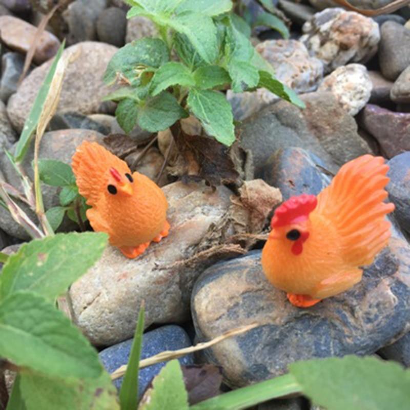 ZOCDOU 2 piezas Gallo rojo gallina y pollo Chook granja de aves de corral DIY modelo pequeña estatua pequeña figura de artesanía ornamento miniaturas