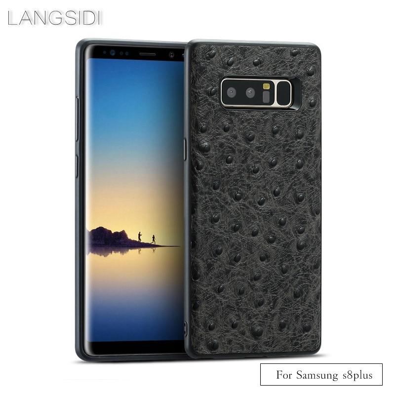 Funda de teléfono de marca de lujo de grano de avestruz envuelta completa para Samsung S8plus funda de teléfono todo hecho a mano procesamiento personalizado