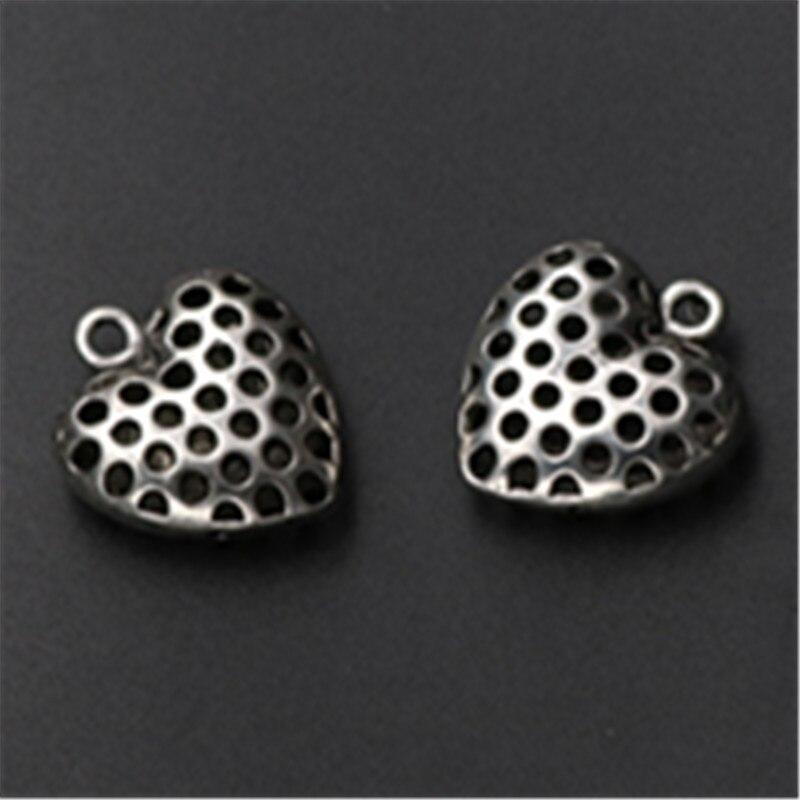 WKOUD 4pcs Antique Silver 3D Surface Hollow Dot Heart Charm Earring Necklace DIY Fashion Jewelry Alloy Pendant A762