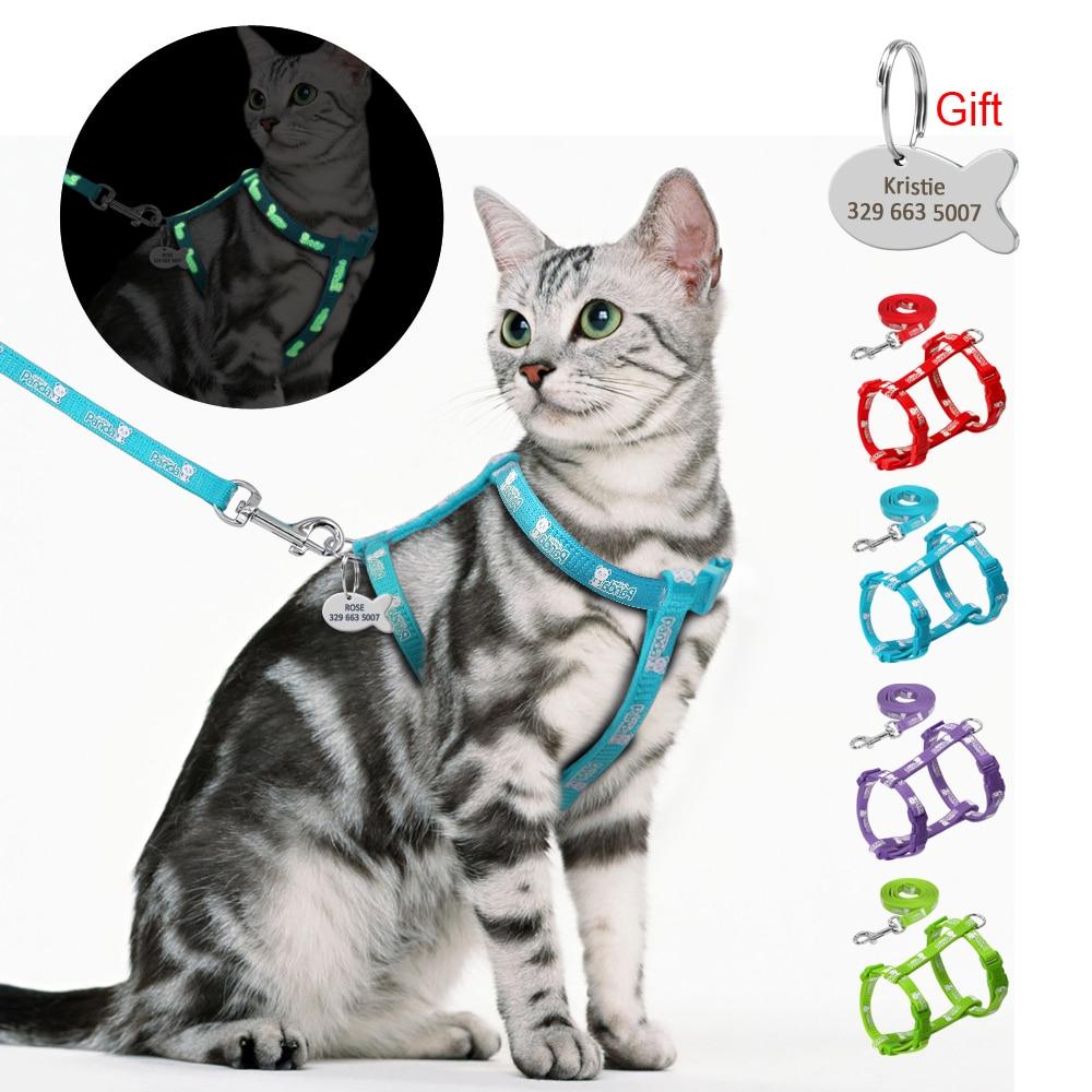 Juego de arnés y correa de gato de nailon con etiqueta de identificación personalizada gatos gatito arnés Anti pérdida Etiqueta de nombre grabado gratis azul rojo