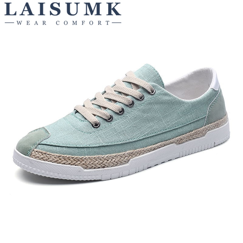 2020 LAISUMK New Fashion Breathable Canvas Mens Shoes Lace-Up Solid Flats Spring High Quality Casual Denim
