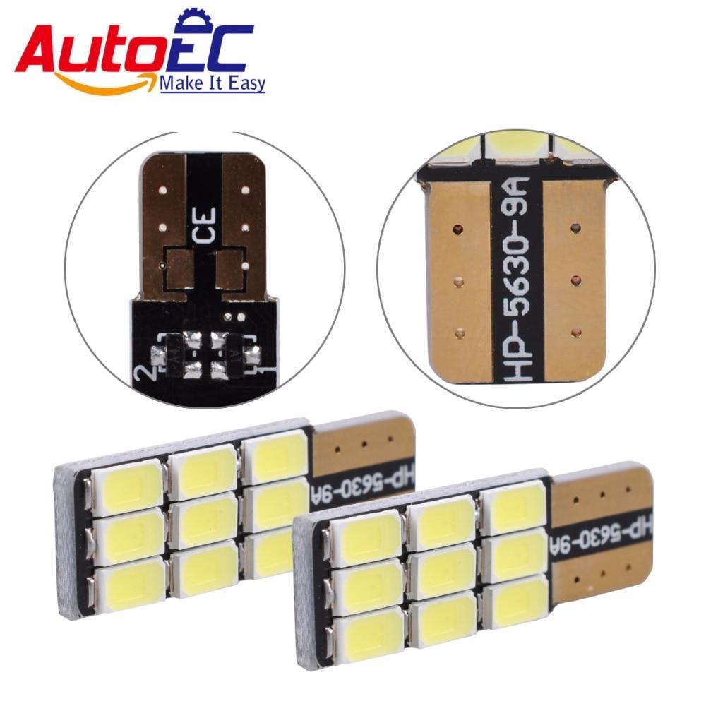 AutoEC 10x T10 168 194 W5W 9 LED 5630 SMD Canbus Error Free White Car Auto Light Source Wedge Side Parking Lights Bulb 12V#LB135