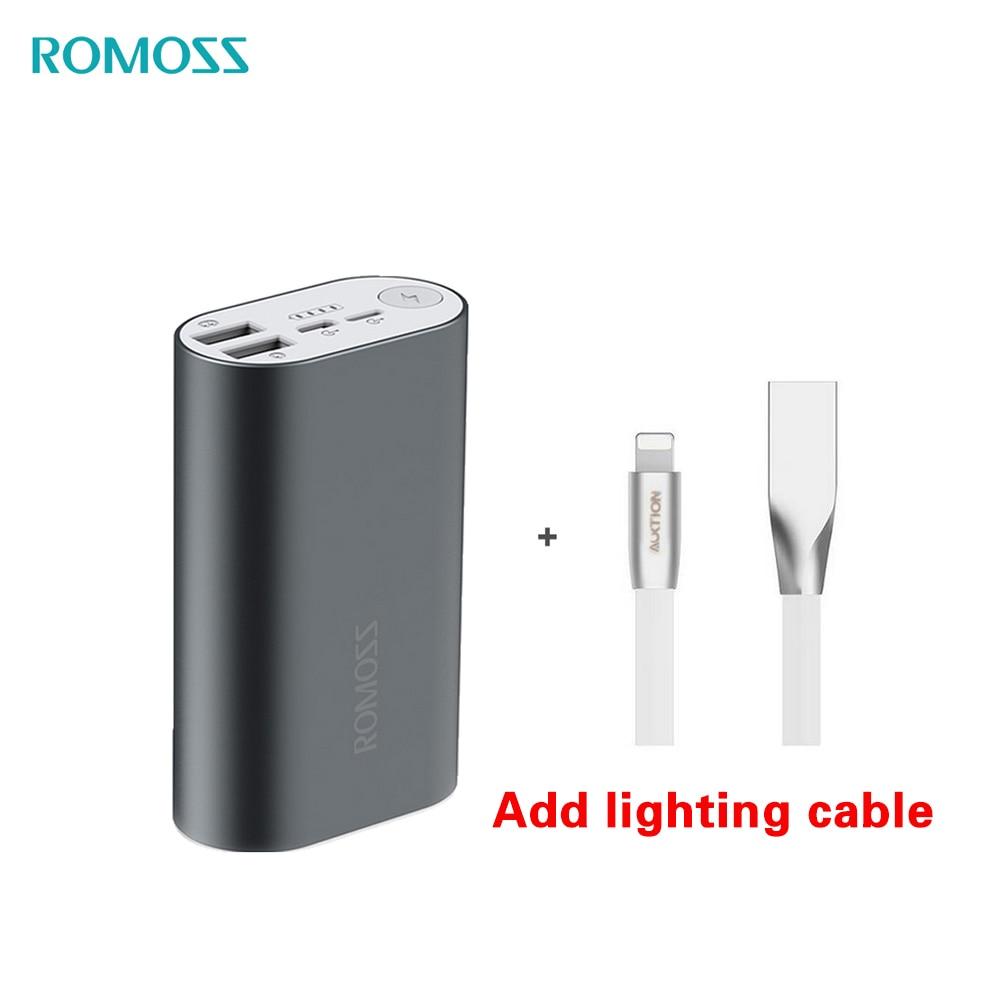 Banco de energía ROMOSS, batería externa ACE10 de 10000mAh, cargador A10 de aleación de aluminio para iphoneX, Huawei, Xiaomi, iosx