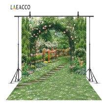 Laeacco jardin fleurs vertes vignes arche porte arrière-plans de photographie scénique arrière-plans photographiques personnalisés pour Studio Photo