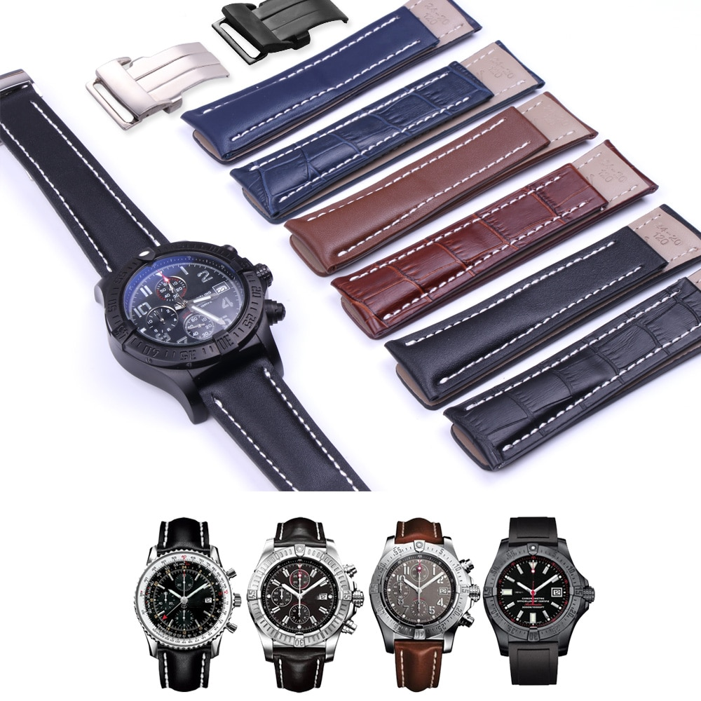20MM 22MM 24MM Genuine Cow Leather Watch Band For Breitlin-g WatchStrap Pilot Watch Watchband Bracel