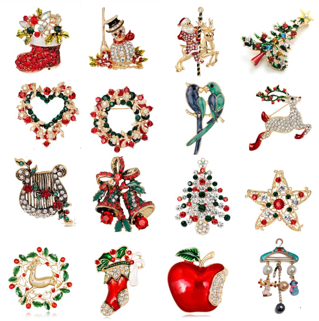 Enamel Snowman Christmas Tree Santa Tree Brooch Pin Christmas Gifts Jingle Bell Boots Brooches Charm Crystal Christmas Gift