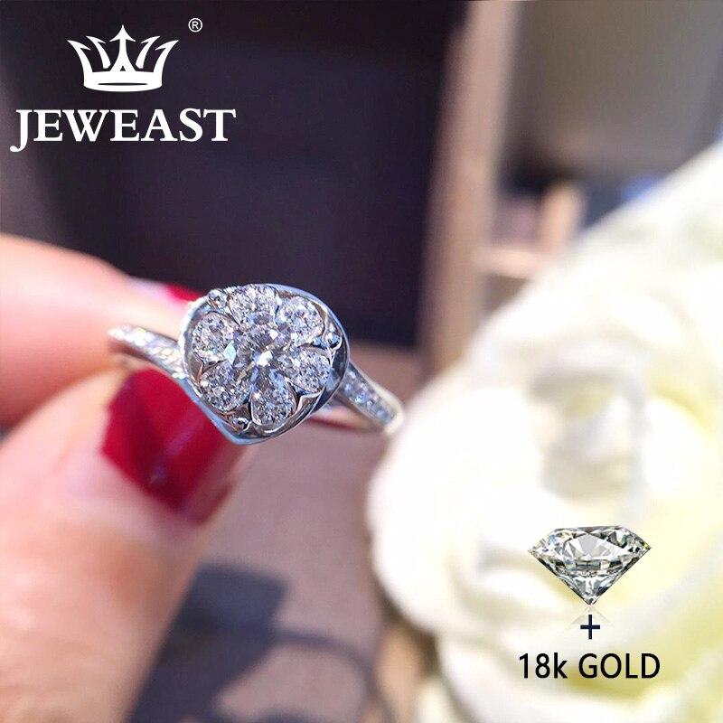 Anillo de oro puro de 18 quilates con diamantes naturales, anillos de oro macizo 750 AU, joyería bonito de moda para fiestas, producto en oferta, novedad de 2018