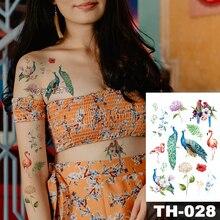 Autocollant de tatouage temporaire étanche petit motif dhortensia flamant de paon transfert deau feuille de palmier art corporel flash faux tatoo