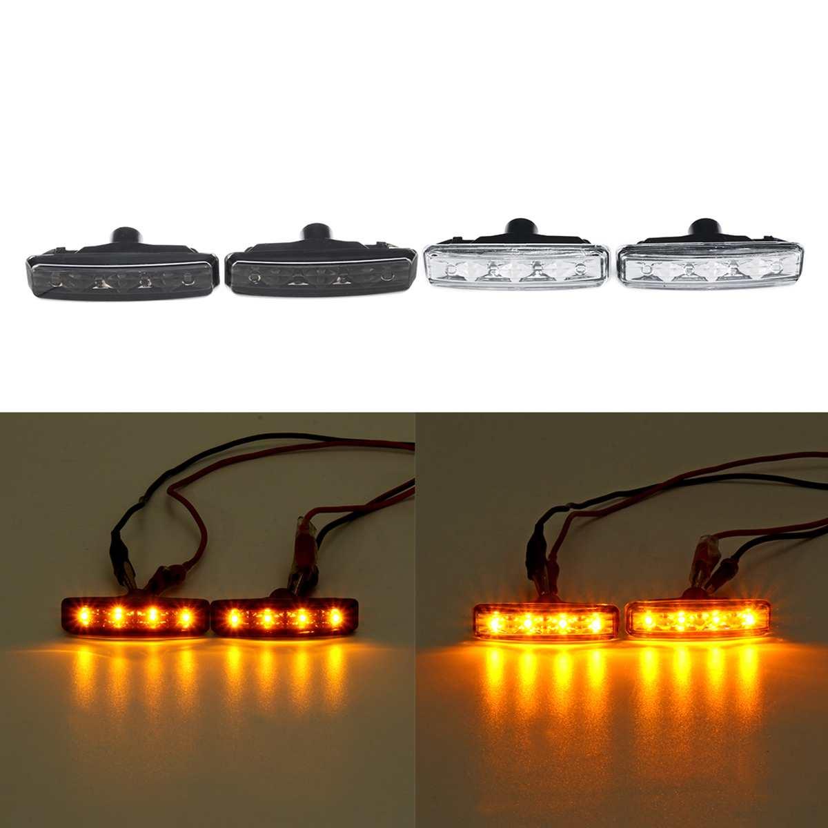Pair Smoke Turn Indicator Side Marker Lights Lamps 63148360589 For BMW E39 1997 1998 1999 2000 2001-2003 Amber LED Signal light