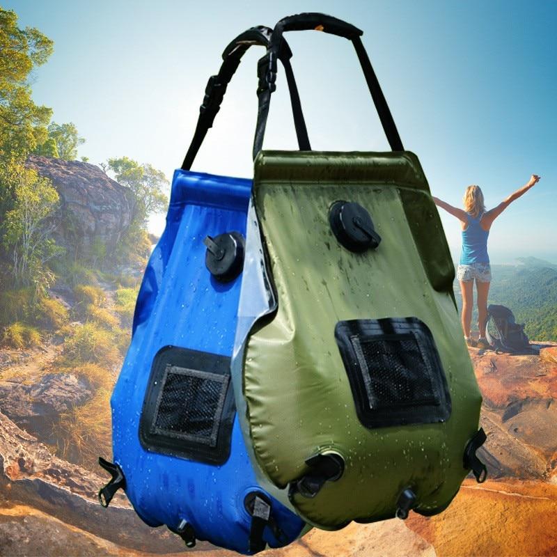 Bolsa de agua de 20L, bolsa de ducha de PVC plegable para campo de calentamiento solar, para viajes de camping al aire libre, escalada, barbacoa, picnic, almacenamiento de agua, calentador solar
