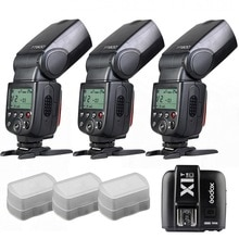 3 x godox tt600 ingebouwde 2.4g ontvanger gn60 hss flash + x1t zender voor canon
