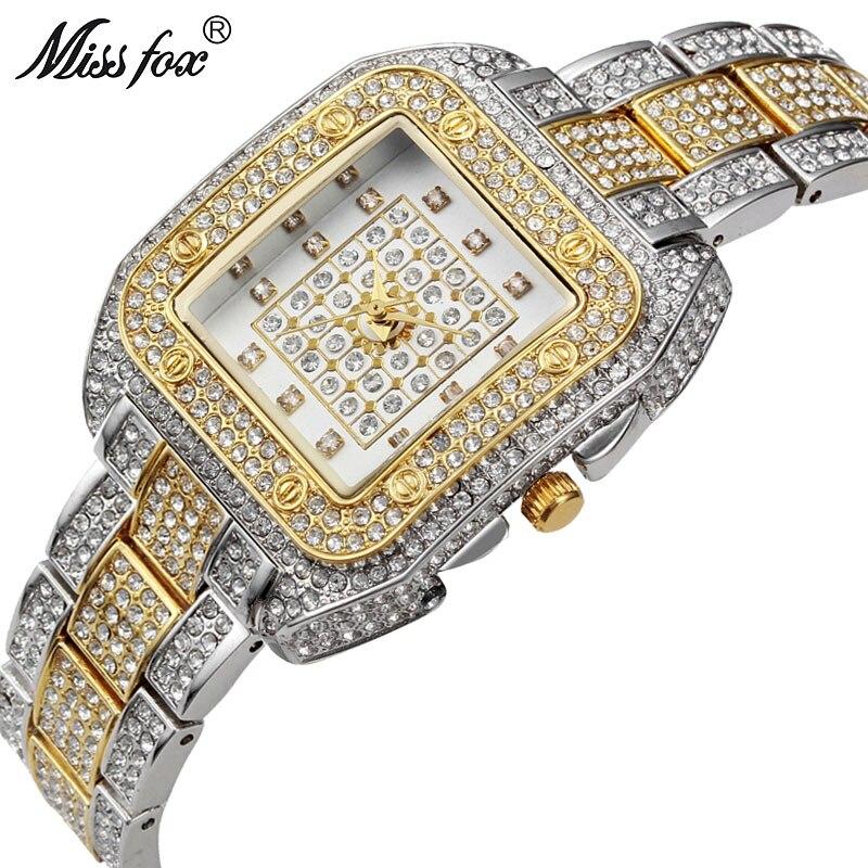 MISSFOX Miss Fox Quartz Women Watches Silver Bracelet Ladies Watches Top Brand Luxury Wrist Watches For Women Casual Relogios