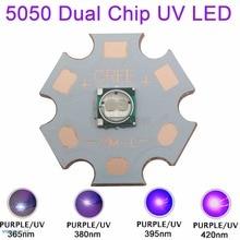 5W 5050 Ultra Violet UV 365nm 380nm 390nm 420nm haute puissance émetteur LED perle 2-puce 3.8-4.2V 350mA-1200mA sur 20mm cuivre étoile