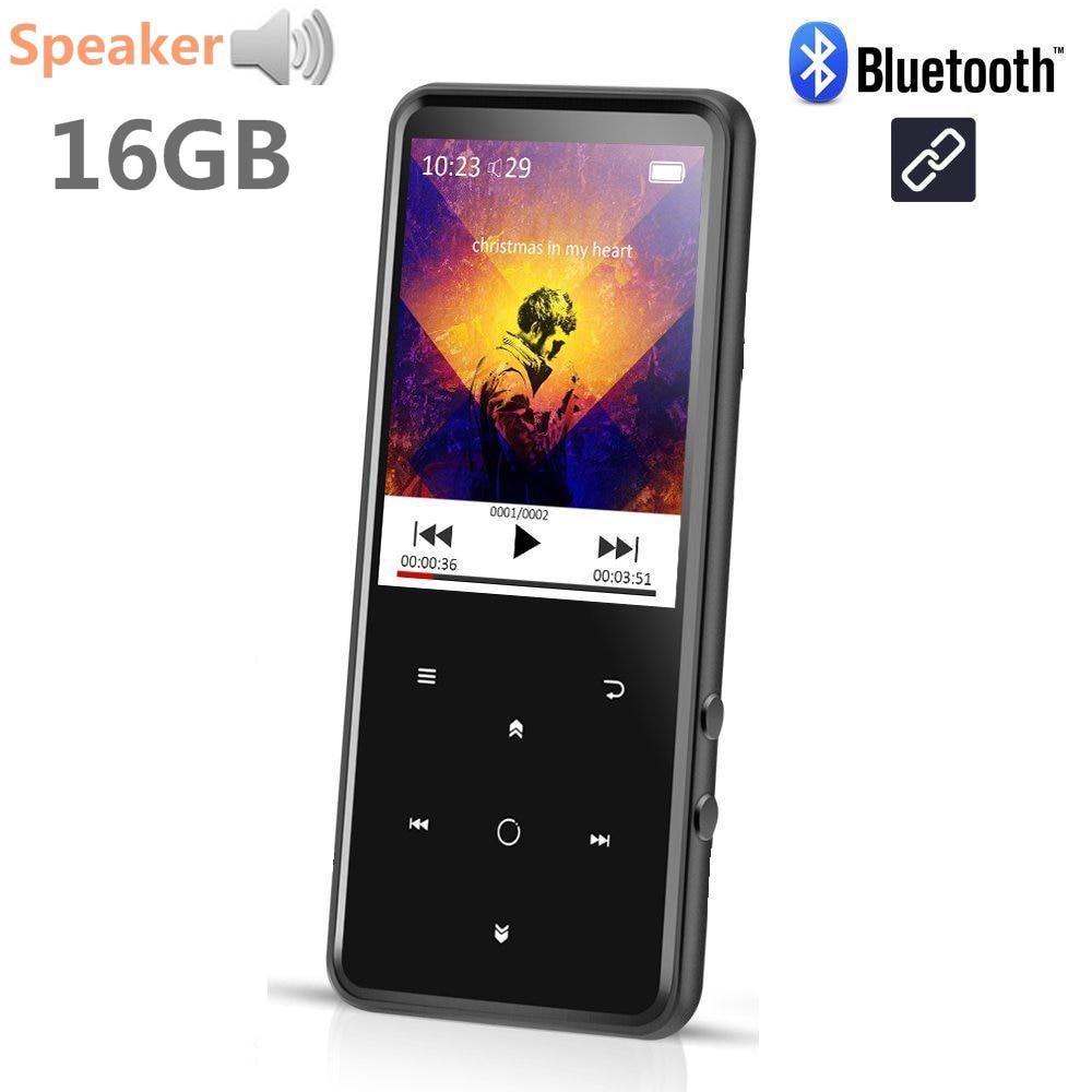 Reproductor de música MP4 16GB Bluetooth4.0 botón táctil de altavoz incorporado con pantalla TFT a Color de 2,4 pulgadas admite tarjeta SD de hasta 128GB