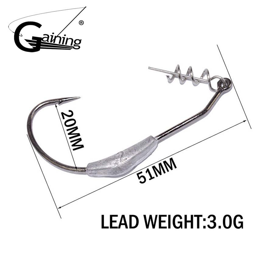 Gaining 6pcs/lot Lead Fishing Crank Hook 2g 2.5g 3g Lead Jig Head Fish Hook for Soft Fishing Bait of Fishing Tackle Hooks enlarge