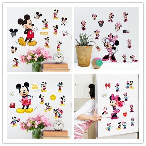 Cartoon Cute Mickey Minnie Mouse Balloon Wall Stickers Decals Or Kids Room Baby Bedroom Wall Art Par