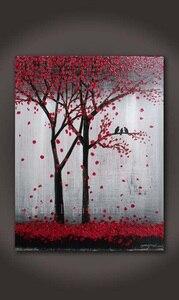 Картина ручной работы, ручная работа, абстрактное настенное художественное изображение птиц в красном цветке, нож, картина маслом