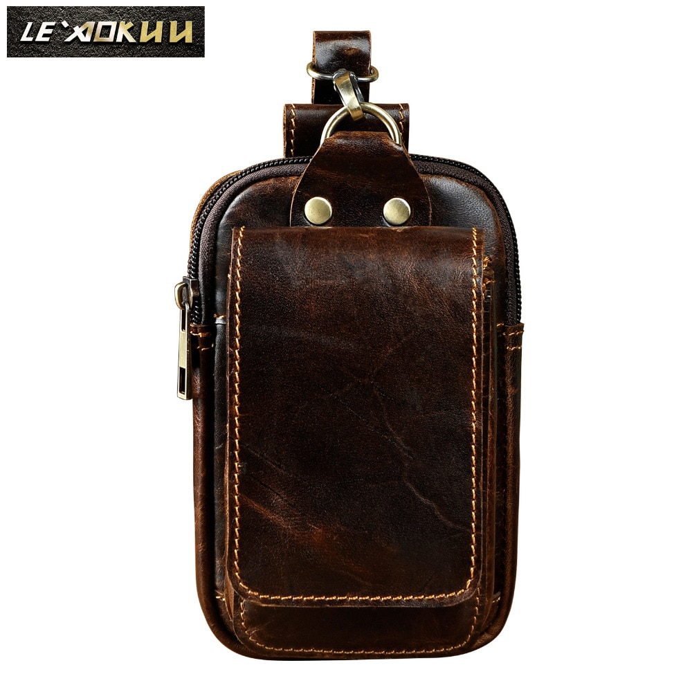 "Fashion Original Leather Male Gift Small Summer Pouch Hook Design Cigarette Case 6"" Phone Pouch Travel Waist Belt Bag 1609-c"