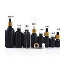 468 pièces * 15 ml 30 ml noir mat e bouteilles compte-gouttes en verre liquide avec bouchon à vis en bambou pour emballage de soins de la peau huile essentielle
