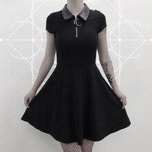 JIEZuoFang robes gothiques femmes noir rue Punk fermeture éclair été Preppy Style fille élégant Goth plissé décontracté chemise robe