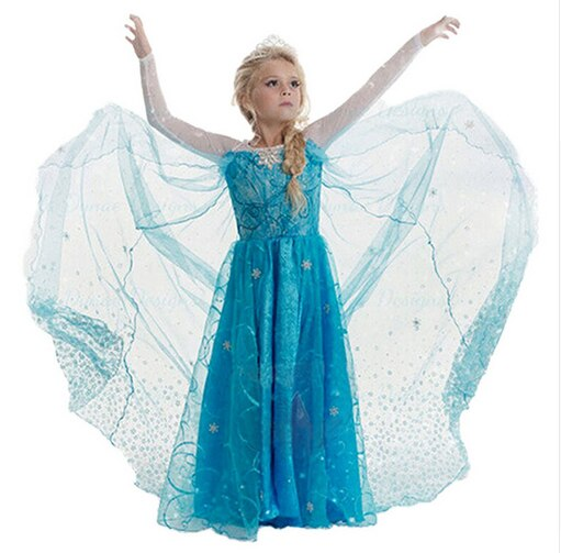 SAMGAMI BABY Free Shipping 2018 New Elsa and Anna Dress Girls Dress Chidlren Princess Dresses Costume Kids Girls Dress 4-8Y