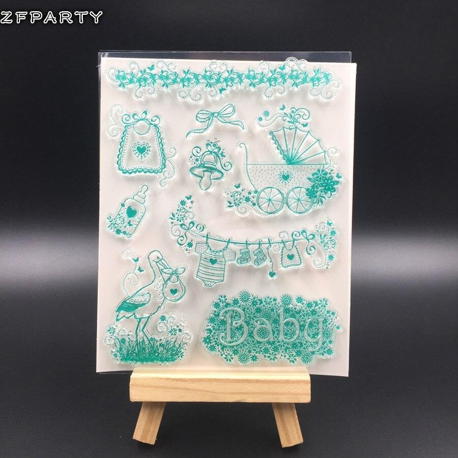 Zfparty bonito do bebê transparente claro silicone selo/selo para diy scrapbooking/álbum de fotos decorativo selo claro