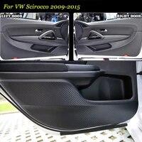 teeze 2pcs new interior carbon fiber doors side edge anti kick protection pad sticker for vw scirocco 2009 2015