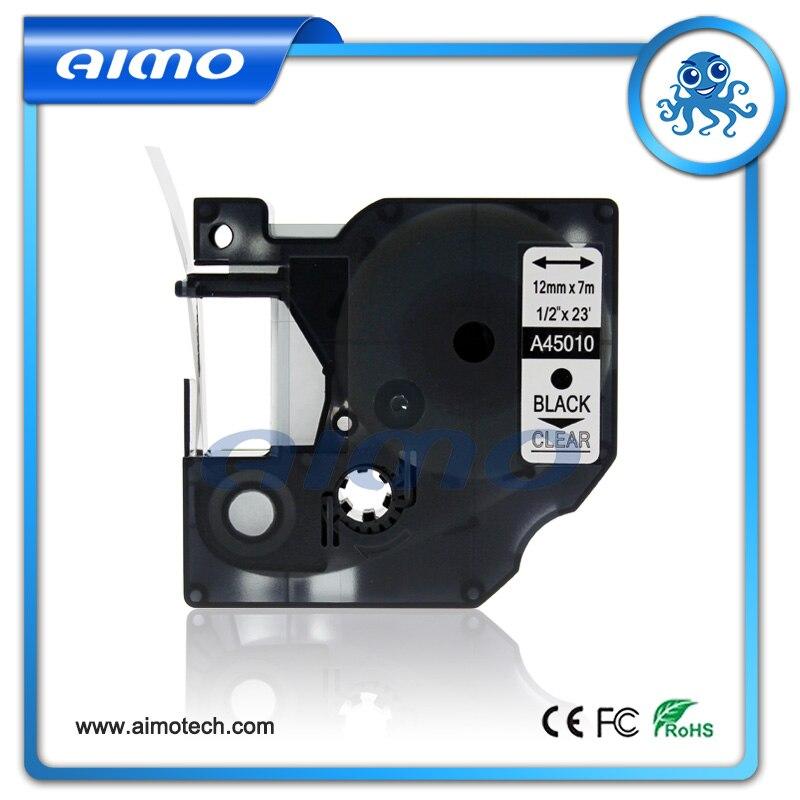 45010 Compatible con cinta de etiquetas DYMO negro en transparente para DYMO D1 12 MM, 1 paquete