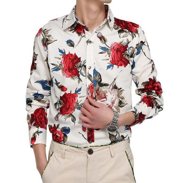 2017 Brand Spring Flannel Casual Long Sleeve Rose Printing Dress Shirt Camisetas Masculinas Plus Size Men Floral