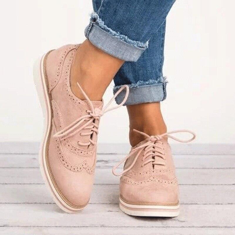 Zapatos Oxford de caucho con plataforma para mujer, estilo británico, zapatos informales con cordones, 5 colores XWD6990