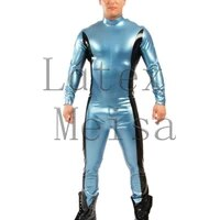bling metallic blue zentai latex catsuit and decorative with black trim colors for men
