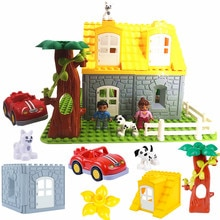 Bricolage accessoires blocs de construction jouer briques château toit porte fenêtre fleur Compatible avec pièces Duploed jouets pour enfants