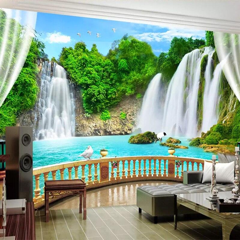 Фотообои на заказ, объемная настенная бумага из нетканого материала с тиснением, с изображением водопада, пейзажа, большие фрески для гостиной, фона для телевизора, Декор