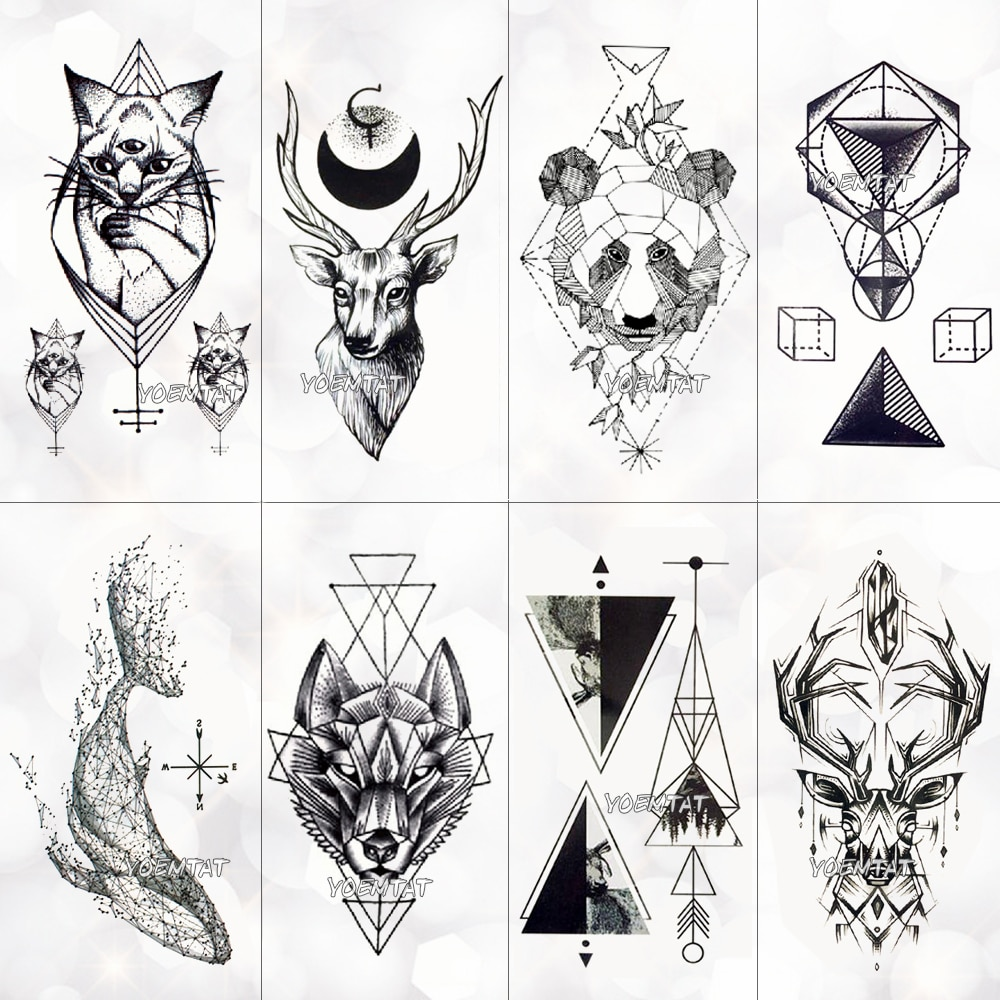 Geometria legal tatuagem temporária adesivo feminino linhas minimalistas padrão arte do corpo novo design tatuagens falsas