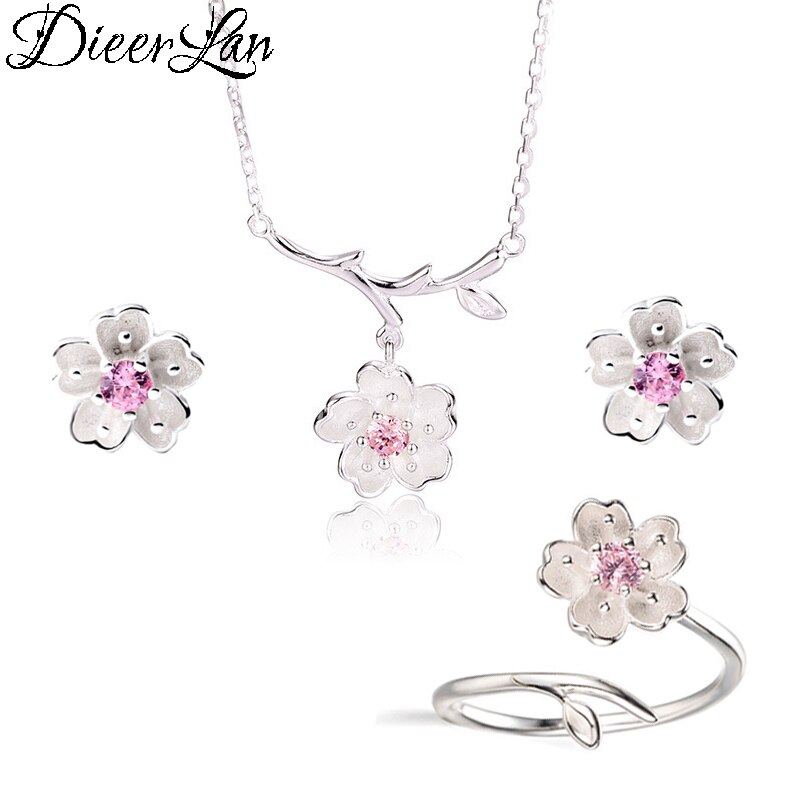Женский свадебный комплект ювелирных изделий из стерлингового серебра 925 пробы с розовыми кристаллами и цветком вишни, серьги, кольца для ж...