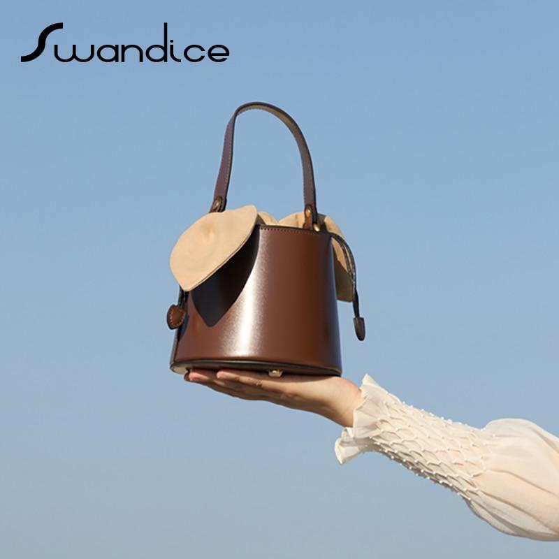 Niche Vintage Drawstring Barrel Box Bucket Bow Tie Handbags Crossbody Messenger Shoulder Bags 2020 Women Female Pouches Bowknot