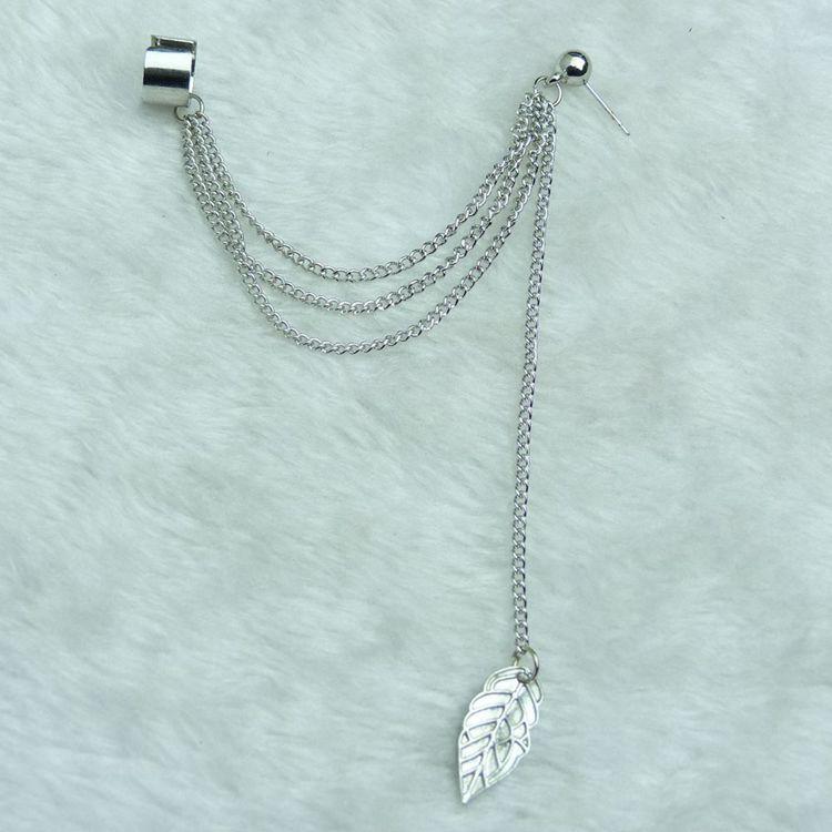 Earcuff Aretes New Arrival Fashion Accessories Aesthetic Tassel Leaves Earrings Earring Female Clip Ear Ring One Piece Pendant