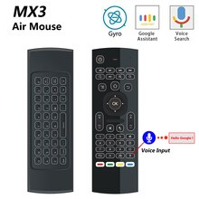 MX3 MX3-L retroiluminada ratón de aire T3 inteligente control remoto por voz 2,4G RF teclado inalámbrico para X96 mini KM9 A95X H96 MAX Android TV Box