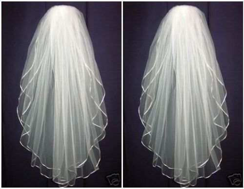 Incredible Ivoor Wit 2 lagen Wedding Bridal veil elleboog Satijn Edge met kam 2019