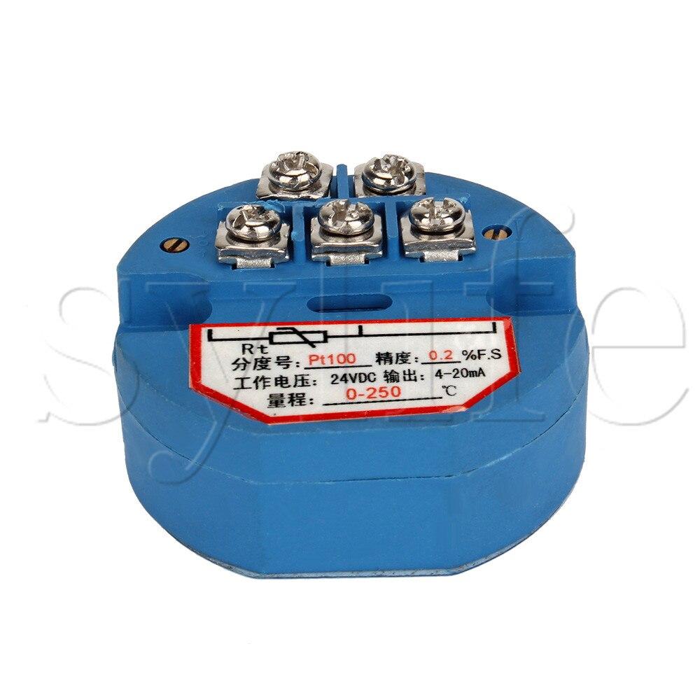 Plástico 24V DC 4-20mA 0-250 Celsius PT100 Sensor de temperatura transmisor