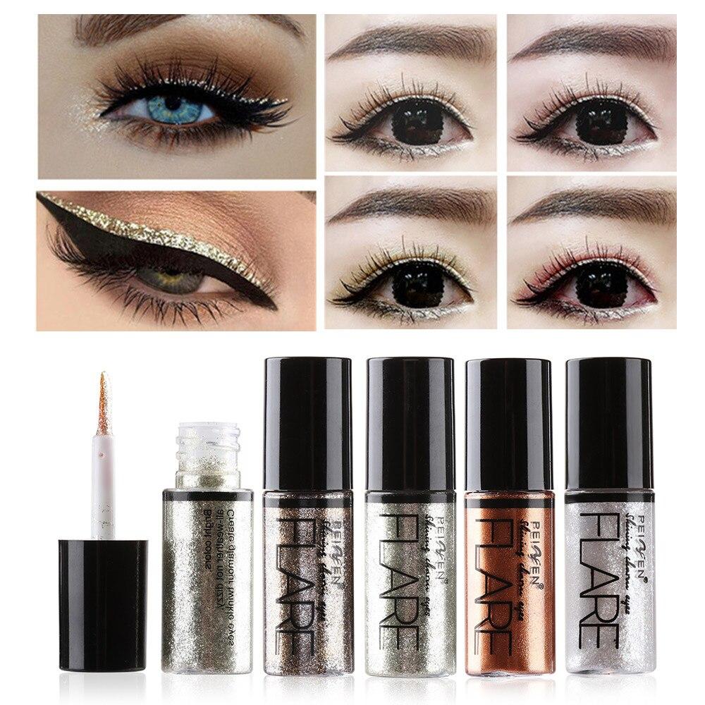 Profesional brillante delineador de ojos lápiz cosméticos de las mujeres de Color plata oro rosa brillo líquido delineador de ojos maquillaje herramientas de belleza
