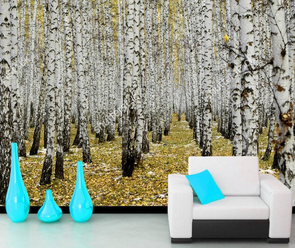 Papier peint photo moderne   Forêt de bouleau jaune, murale de paysage naturel, pour fond de canapé, restaurant