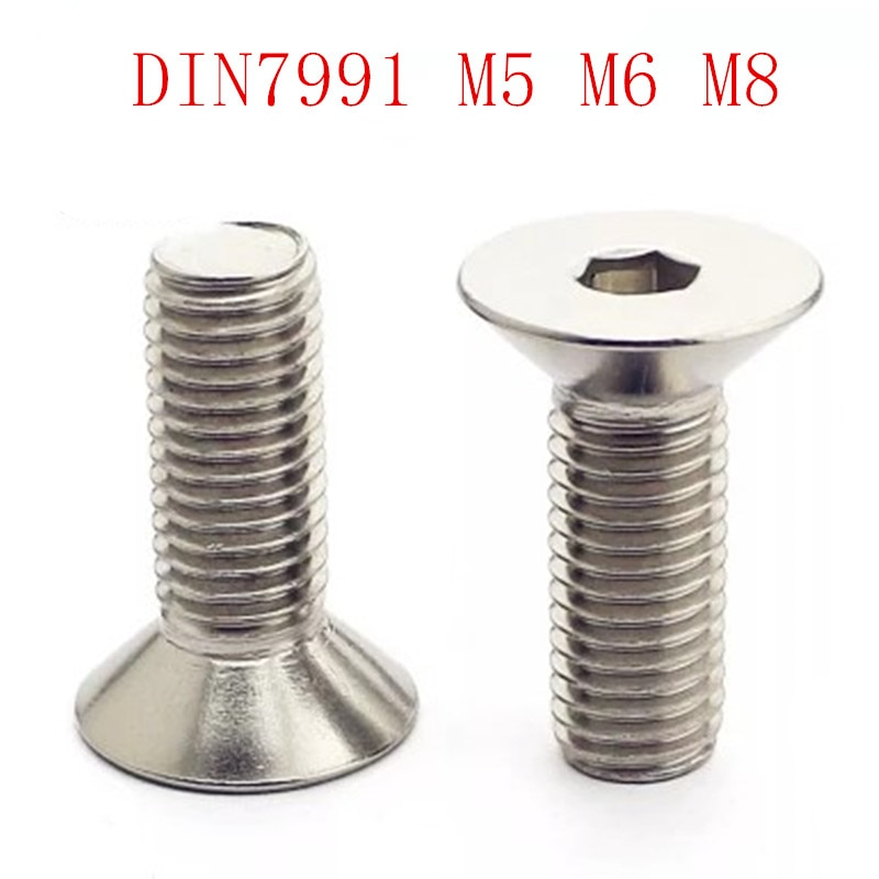 5-10 pcs M5 M6, m8 * L = 8 ~ 50mm DIN7991 sus304 inox Hex soquete cabeça rebaixada plana cap parafuso brinquedo