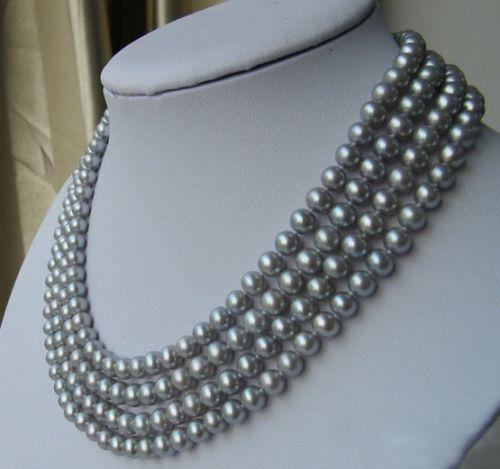 Broche de joyería de regalo para mujeres nobles 17-18 pulgadas perla Natural real rara 4 filas 7-8 AAA collar de perlas grises