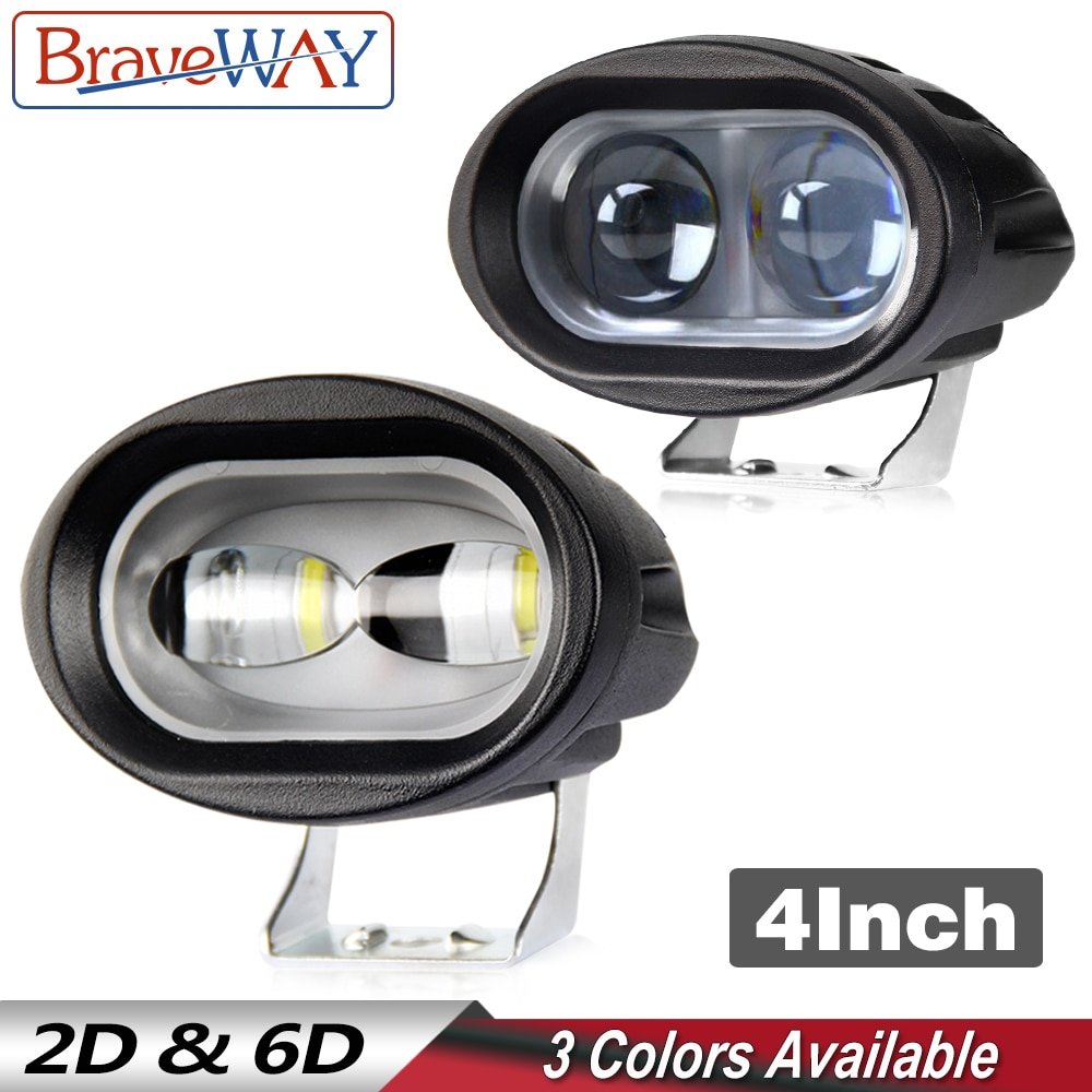 Luz Led de trabajo BraveWay 1 Uds. Para camión todoterreno, luz LED de trabajo de 12V para ATV, Motor, bicicleta, motocicleta, faros antiniebla, punto de inundación