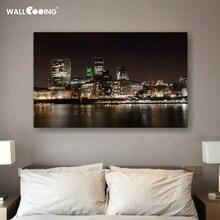Toile décorative avec impression indépendante   Photo de nuit de ville, Paris, Shanghai, londres, dubaï, singapour, images du bâtiment célèbre