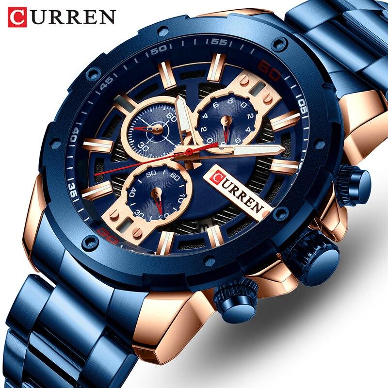 2019 relojes de cuarzo analógicos para hombre, marca superior CURREN, reloj de negocios de lujo para hombre, reloj de pulsera cronógrafo multifunción de moda para hombre