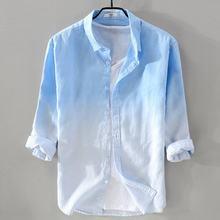 High quality 2018 Mens blue Gradient shirts mens 100% linen shirts casual mens lapel collar shirts fashion loose male shirts